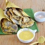 Funghi Pleurotus fritti con salsa allo yogurt, curcuma e olio extra vergine
