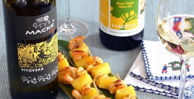 Spiedini di gamberi e ananas, marinata al curry e extravergine Mackè